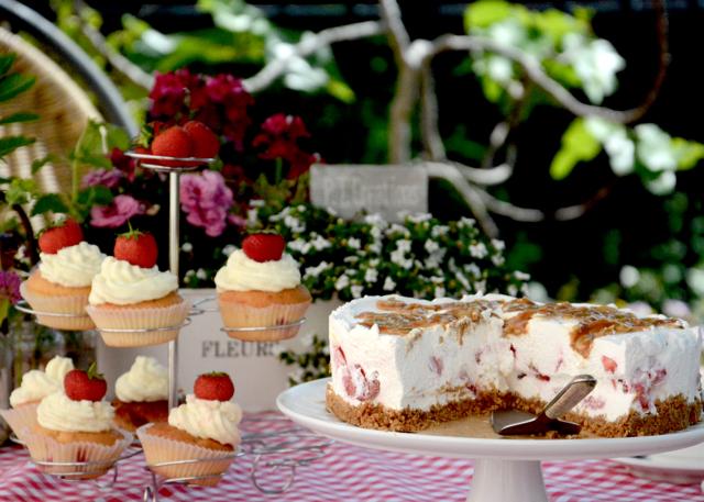 Erdbeer Limette Cupcakes Karamelltorte