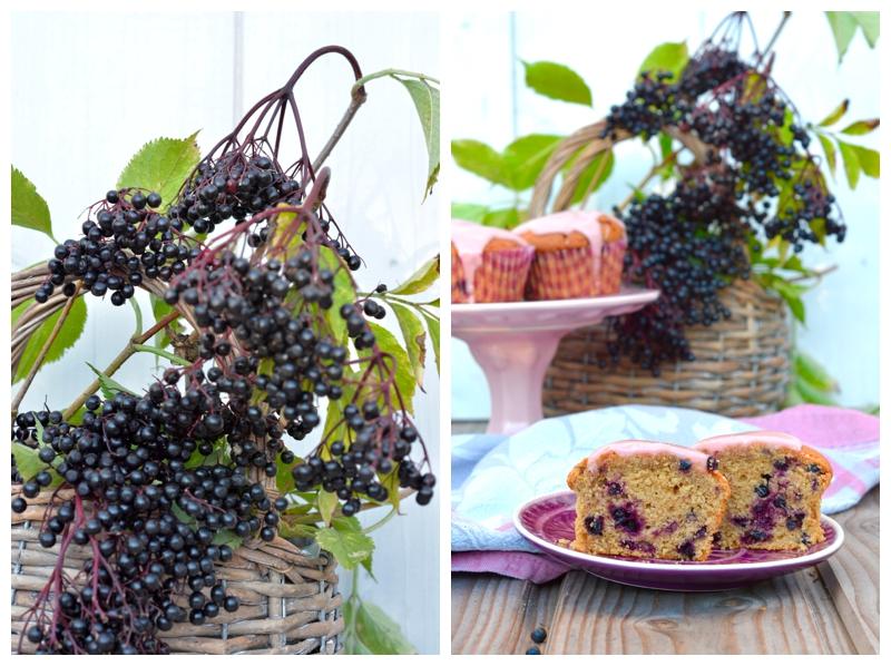 Holundermuffins Holunder Holunder Holunderbeeren Elderberries