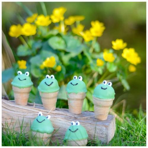 Frosch Cakepops grün waffelbecher