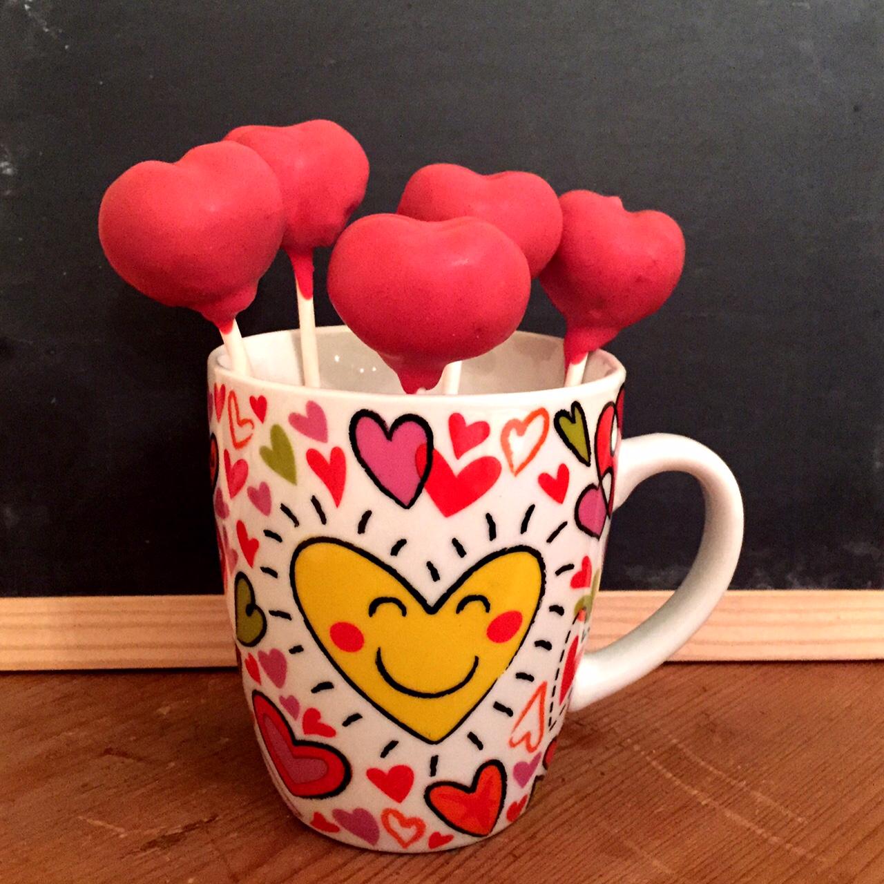 Cakepops Herz rot