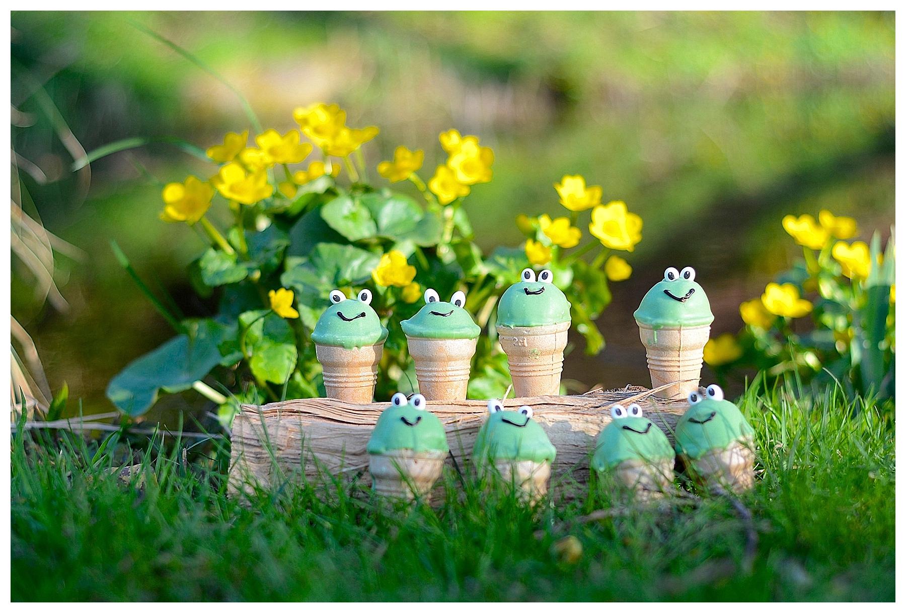 Frösche Cakepops grün waffelbecher