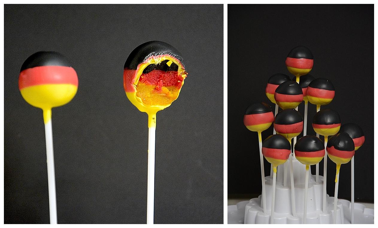 WM Bäckerei: Cakepops in schwarz-rot-gold