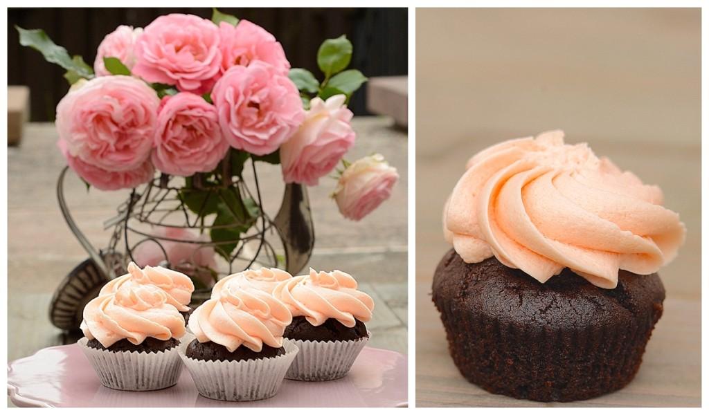 Rosen Rose Schokolade Cupcakes