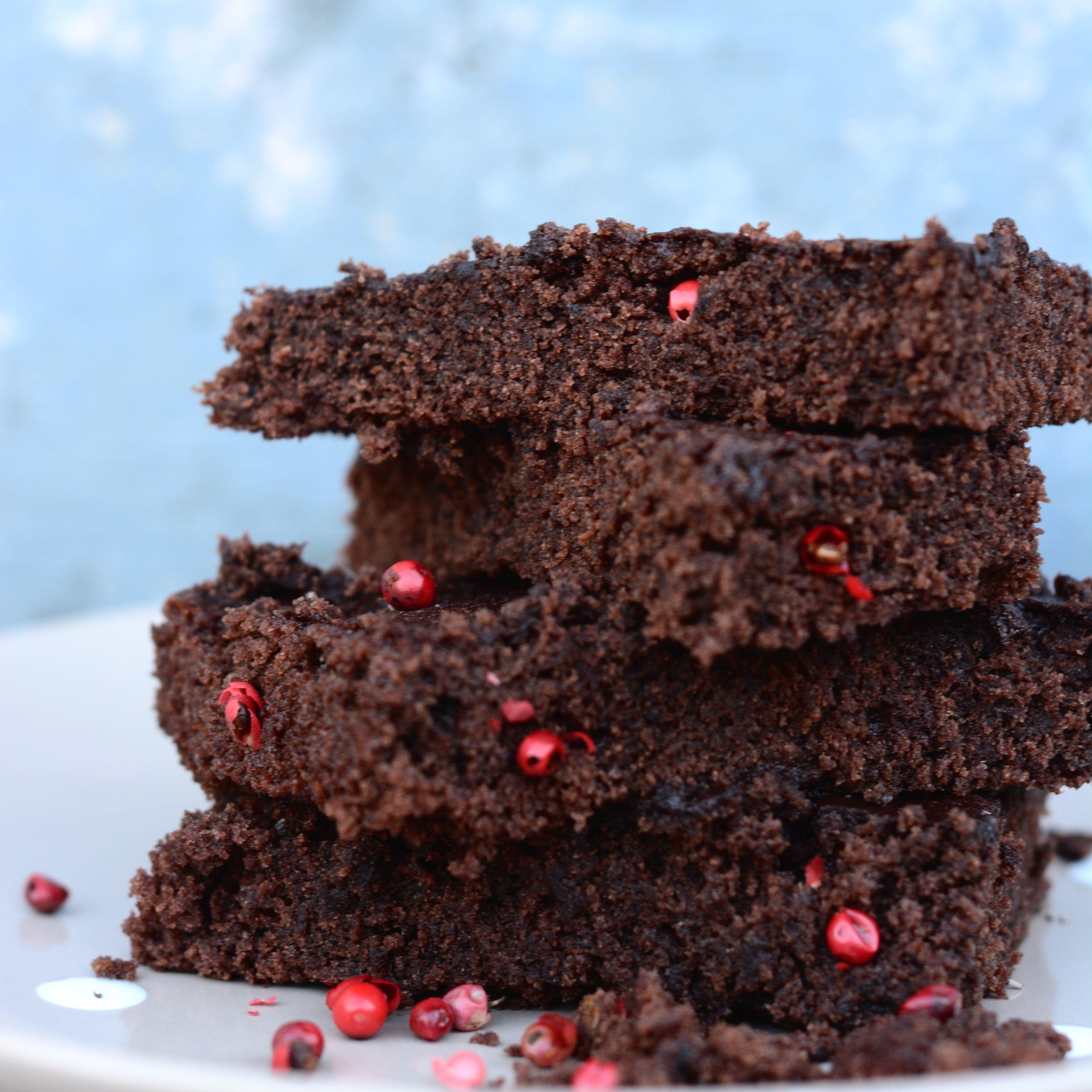 Eine tolle Kombi: Brownies mit rosa Pfeffer