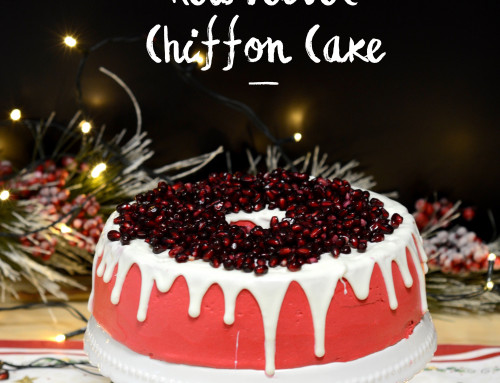 Red Velvet Chiffon Cake mit Granatapfelkernen